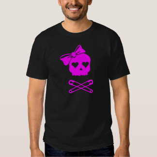 Girly Skull and Crossed Safety Pins T-shirt