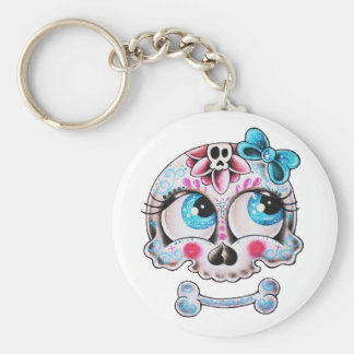 Girly skull basic round button keychain