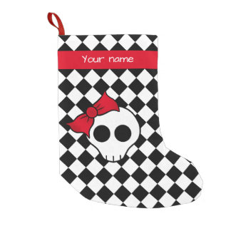 Girly skull checkered small christmas stocking