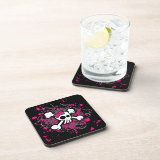 Girly Skull & Crossbones Coaster Set