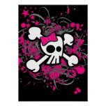 Girly Skull & Crossbones Poster