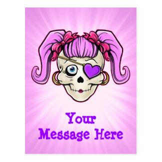 Girly Skull Design Postcard