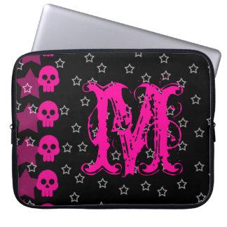 """Girly Skull EMO Punk Rock Monogram 15"""" Laptop Case"""