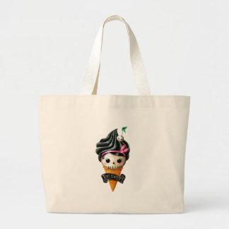 Girly Skull Ice Cream Cone Canvas Bags