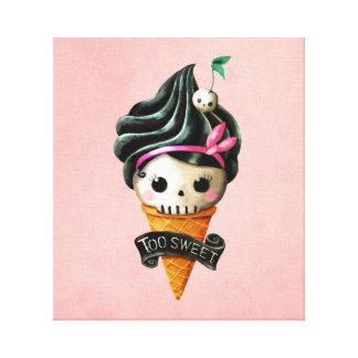 Girly Skull Ice Cream Cone Canvas Print