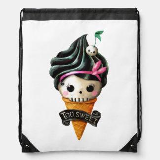 Girly Skull Ice Cream Cone Drawstring Backpacks