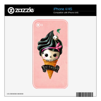 Girly Skull Ice Cream Cone Skins For The iPhone 4