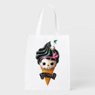 Girly Skull Ice Cream Cone Market Tote