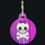 "Girly Skull Pet ID Tag<br><div class=""desc"">Specially made for tough girls that still like a little princess sass, the &#39;Girly Skull Custom Dog Tag&#39; is a perfect match for your bossy bow-wow! Featuring a flashy purple-streaked background with a bold, ribboned skull and cross bones, all the other pooches will know who really runs the show. Made...</div>"