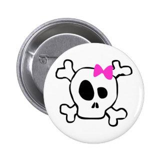 Girly skull pinback button