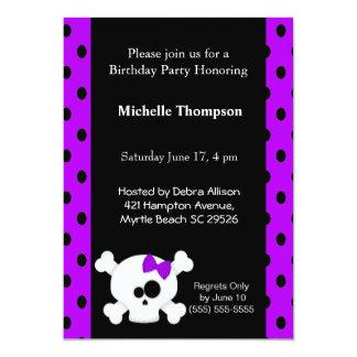 Girly  Skull Purple Birthday Invitations