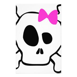 Girly skull stationery paper