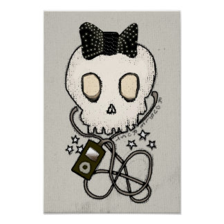 Girly Skull with Black Bow / Die for Music Poster