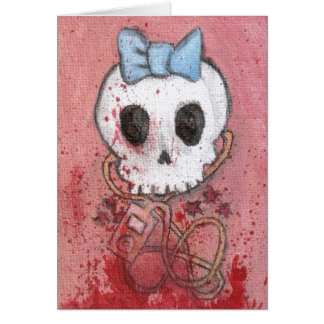 Girly Skull with Blue Bow / Die for Music Card