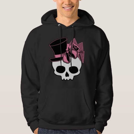 Girly Skull with Hat and Pink Bow Hoodie