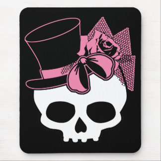 Girly Skull with Hat and Pink Bow Mouse Pad