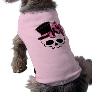 Girly Skull with Hat and Pink Bow Shirt