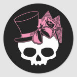 Girly Skull with Hat and Pink Bow Classic Round Sticker