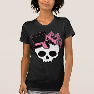 Girly Skull with Hat and Pink Bow T Shirts