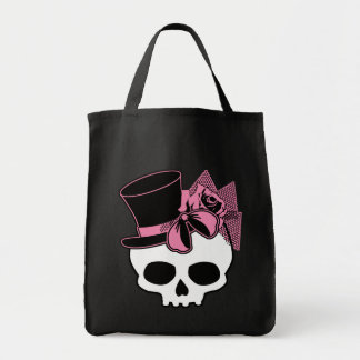 Girly Skull with Hat and Pink Bow Tote Bag