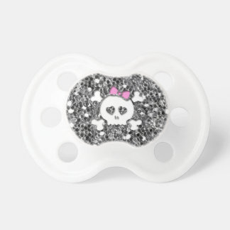 Girly Skull with Pink Bow on Silver Glitter Look BooginHead Pacifier