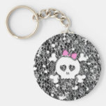 Girly Skull with Pink Bow on Silver Glitter Look Keychain