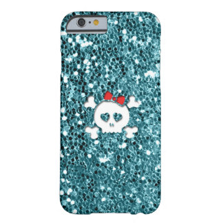 Girly Skull with Red Bow on Aqua Glitter Look iPhone 6 Case