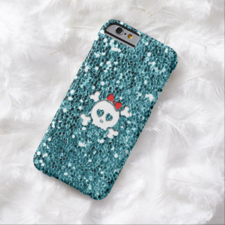 Girly Skull with Red Bow on Aqua Glitter Look Barely There iPhone 6 Case