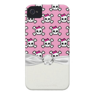 girly skulls and crossbones punk pattern iPhone 4 case