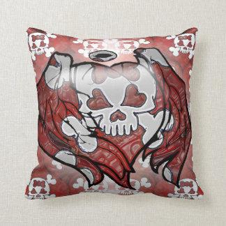 Girly Skulls and Hearts Pillow