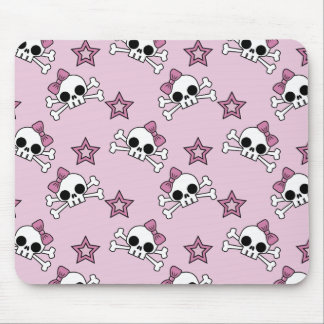 Girly Skulls and Stars Mouse Pad