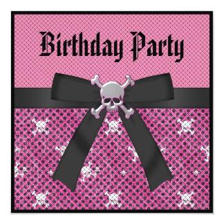 Girly Skulls & Polka Dots Pink Birthday Invites