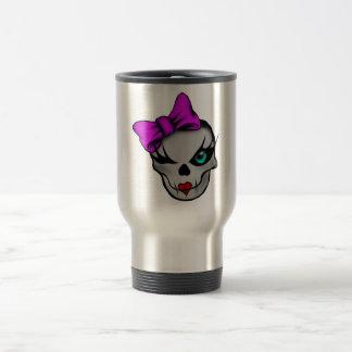 Girly Skully 15 Oz Stainless Steel Travel Mug