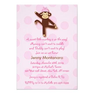 Girly Sock Monkey Custom Baby Shower Invitations