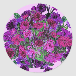 Girly Soft Lilac with Pretty Purple Flower Sticker