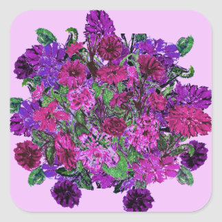 Girly Soft Lilac with Pretty Purple Flowers 2 Square Sticker