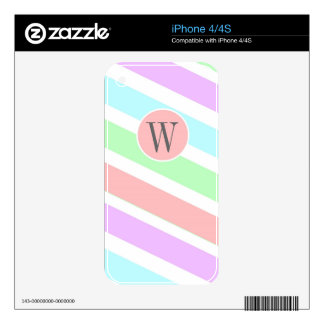 Girly soft pastel colors strips,  monogram. iPhone 4 decal