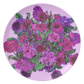 Girly Soft Pink Pretty Purple Flowers Party Plates