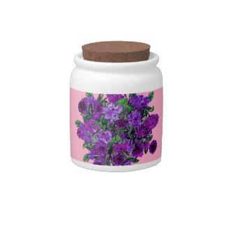 Girly Soft Pink w Pretty Purple Flowers Candy Jar