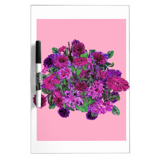 Girly Soft Pink w Pretty Purple Flowers Dry Erase Dry-Erase Whiteboards