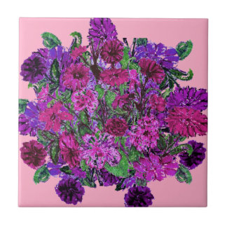 Girly Soft Pink with Pretty Purple Flowers 2 Ceramic Tile