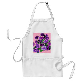 Girly Soft Pink with Pretty Purple Flowers Aprons