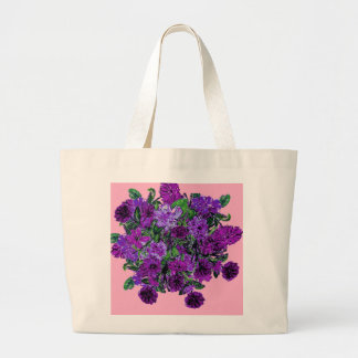 Girly Soft Pink with Pretty Purple Flowers Bags