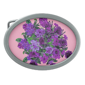 Girly Soft Pink with Pretty Purple Flowers Oval Belt Buckle