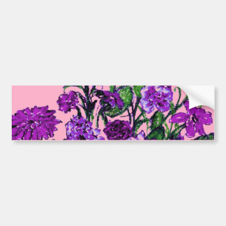 Girly Soft Pink with Pretty Purple Flowers Bumper Stickers