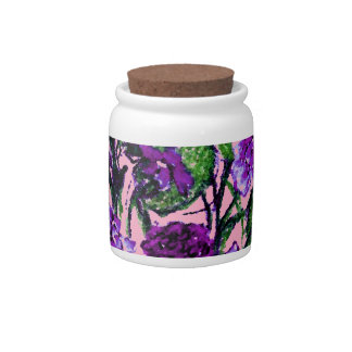 Girly Soft Pink with Pretty Purple Flowers Candy Jars