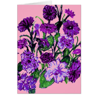 Girly Soft Pink with Pretty Purple Flowers Greeting Cards