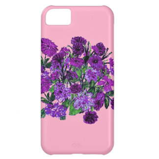 Girly Soft Pink with Pretty Purple Flowers iPhone 5C Covers