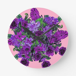 Girly Soft Pink with Pretty Purple Flowers Clocks