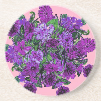 Girly Soft Pink with Pretty Purple Flowers Coasters